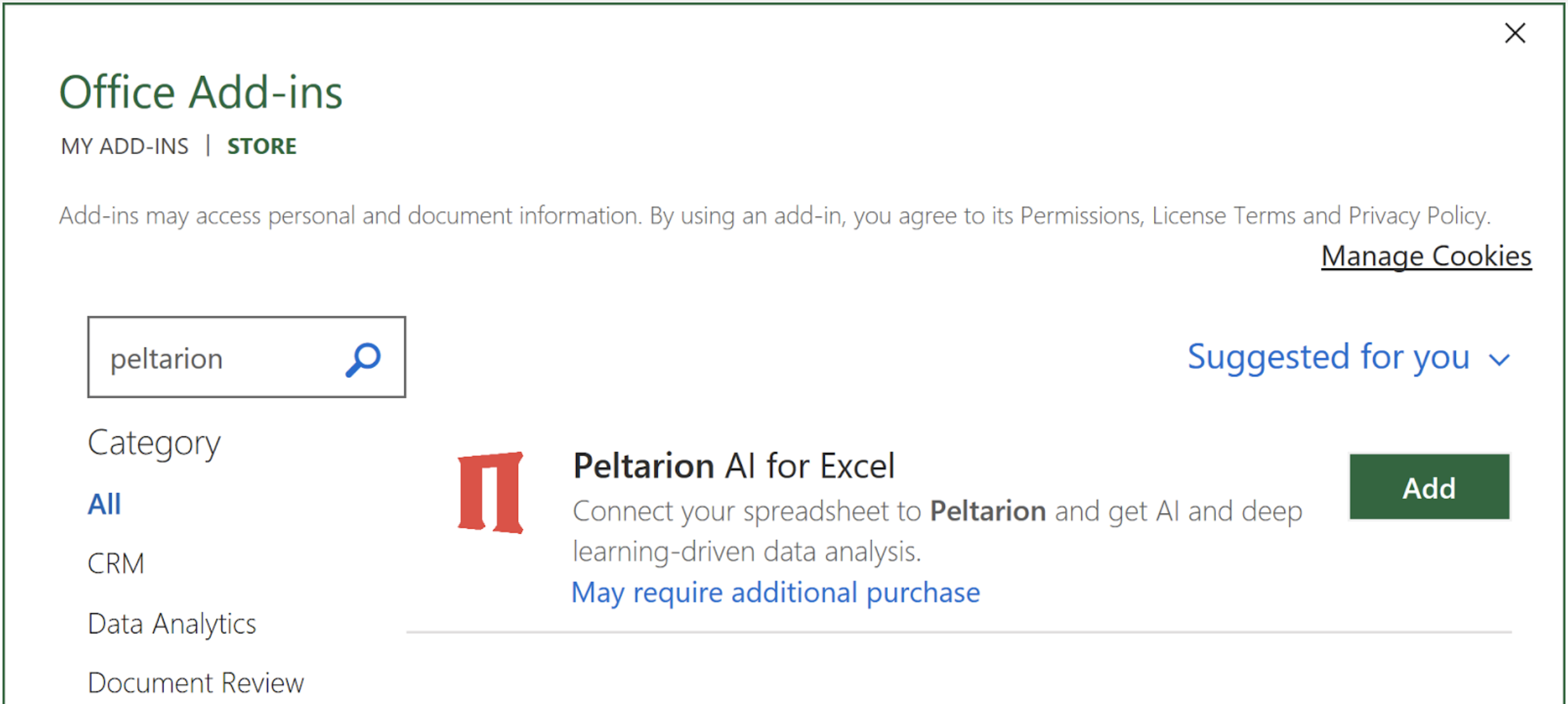 Install the Peltarion AI for Excel add-in